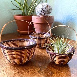 Vintage Mini Nesting Baskets set of 3